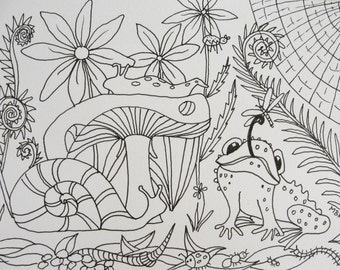 Original Ink Drawing, Woodland Scene, Snail, Toad, Toadstool, Ferns, Spider, Woodland Critters, Black and White Illustration