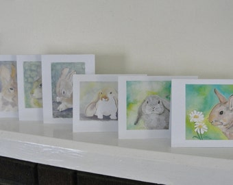 Assorted Bunny Cards, Rabbit Note Cards, All Occasion Blank Bunny Cards, Rabbit Illustration Cards, Watercolor Bunny Cards, Set of 6