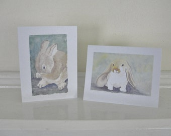 Sweet Bunny Rabbit Cards Gray and Brown Summer Bunny Rabbit Illustrations All Occasion Blank Cards Birthday Cards Thank You CardsSet of 2