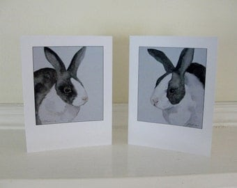 Bunny Rabbit Cards Black White and Gray Summer Bunny Rabbit Illustrations All Occasion Blank Cards Birthday Cards Thank You CardsSet of 2