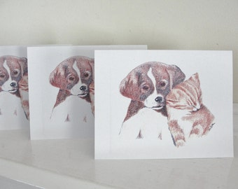 Puppy and Kitten Dog and Cat Art Blank All Occasion Cards Cute Dog and Cat Birthday Thank You Set of 4
