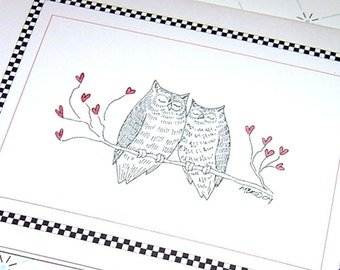 Anniversary Card, Owl Anniversary Card, Owl Wedding Card, Owls in Love, Happy Anniversary, Romantic Card for Couple