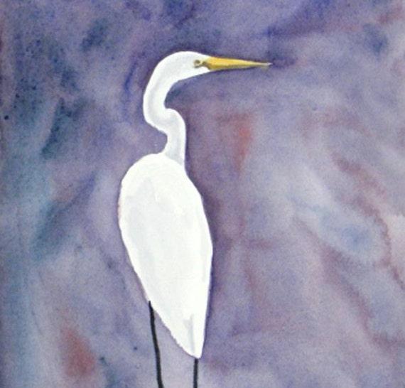 White Bird Heron Egret Watercolor  Purple Violet Original Shore Bird Painting