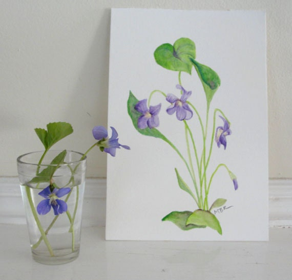 Watercolor Painting Flower Painting Botanical Painting Violets