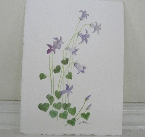 Watercolor Painting Flower Art Watercolor Botanical Purple Flowers Original Nature Art Painting