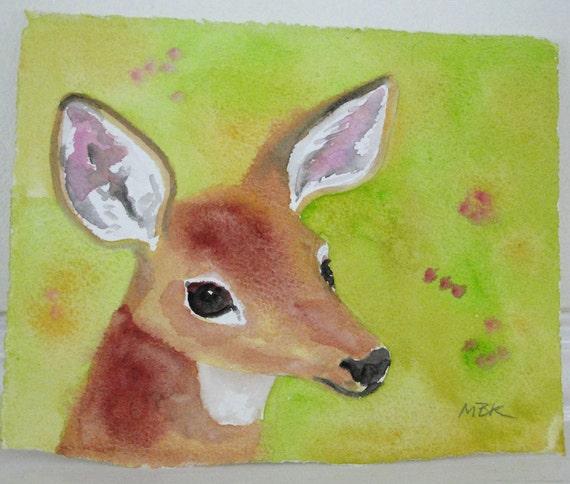 Watercolor Painting Nature Art White Tailed Deer Watercolor Woodland Animal Art Original Small Painting