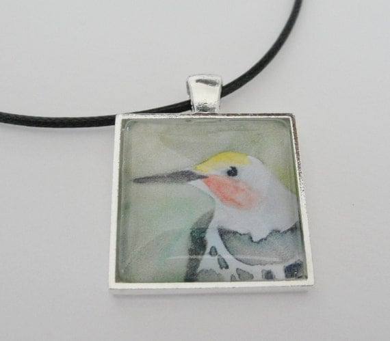 Bird Art Glass Silver Pendant Necklace Northern Flicker Woodpecker Pendant on Black Cord Bird Jewelry from Original Art