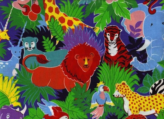 Juvenile jungle print fabric for Childrens jungle print fabric