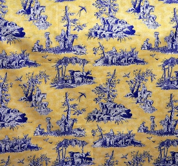 French toile cotton fabric blue on yellow for French toile fabric