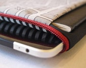 mattt - iPad & sketchbook sleeve - MELBOURNE MAP fabric - striped lining and a deep red zipper