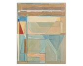 Original Abstract Painting Modern Art Collage Drawing 24x30 Blue Green Brown Gray Peach