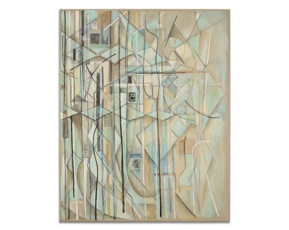 Original Abstract Painting Modern Art Mid Century Modern Art Drawing Collage 24x30 Canvas Blue Taupe Pale Yellow Black White