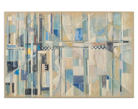 Abstract Collage Modern Art Original Painting Drawing 24x36 Canvas Chicago Blue White Gray