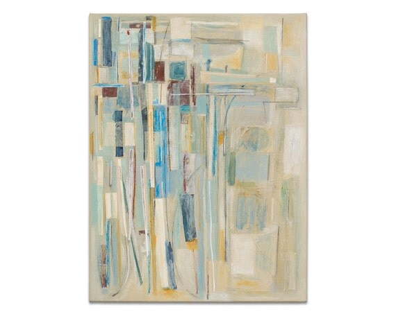 Abstract Art Original Painting Collage Modern Art Muted Delicate Subtle Pastel Blue White Brown Gray 18x24 Canvas