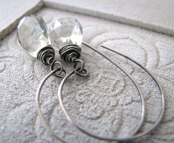 Green Amethyst Sterling Silver Earrings, Isdes by Blue Scarab Jewelry