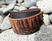 Leather Cuff Bracelet Wrap, Wilderness Pine Tree Print in Brown & Sienna