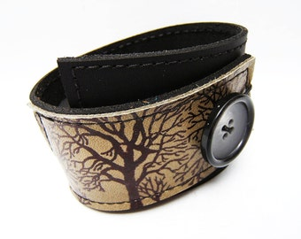 Leather Wrap Cuff, Tree Silhouette Print in Black & Olive Taupe, Adjustable Size