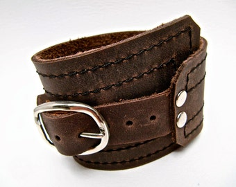Brown Leather Cuff, Unisex Buckle Wrap