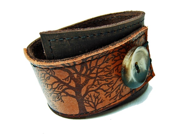 Tree Silhouette Wrap LEATHER Cuff Brown, Sienna