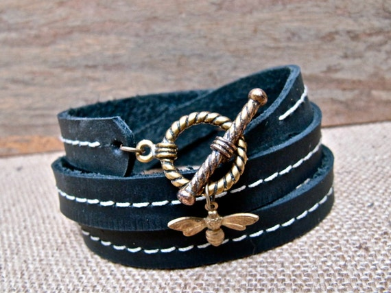 Leather Bracelet Charm Wrap, Antique Brass Bumble Bee & True Black - SALE - see Shop for Coupon Codes...