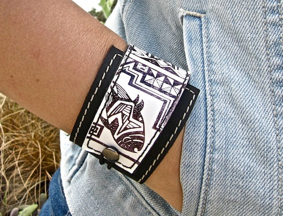 Leather Cuff Wrap Bracelet, Tribal Fish Print in Black & White - SALE - see Shop for Coupon Codes...