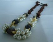 Turkish Silk and Pearl Necklace in Brown - Free Shipping
