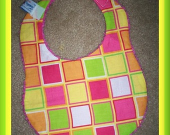 Beautiful Citrus Squares & Pink Chenille Baby Bib