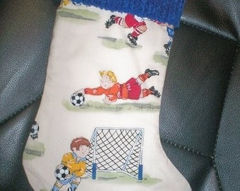 Retro Soccer Playing Boys and Girls and Chenille Handmade Christmas Stocking with FREE US  SHIPPING