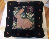 Rabbit Decorator Pillow in Black and Brow