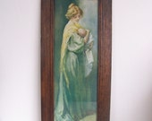 Antique Edwardian Mother and Child Print in Original Oak Frame