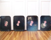 Metal Serving Trays in Black with Hand Painted Pink Flowers a Set of 4 or 8 (Item 506)