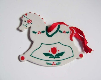 Porcelain Christmas Ornament in the shape of a Scandinavian Rocking Horse