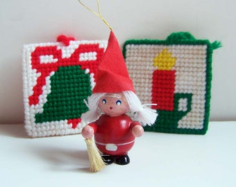 Scandinavian Tomten Gnome Ornament . 2 Needlepoint Ornaments