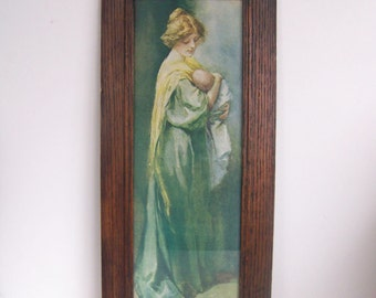 Antique Edwardian Mother and Child Print in Original Oak Frame