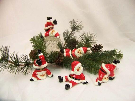 Tumbling Santas By Fitz And Floyd Rare 1976 Set Of 5