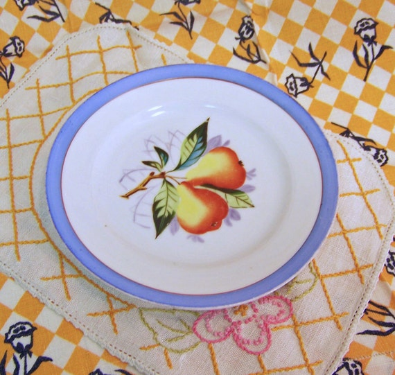 Fruit Plate with Hand Painted Pear