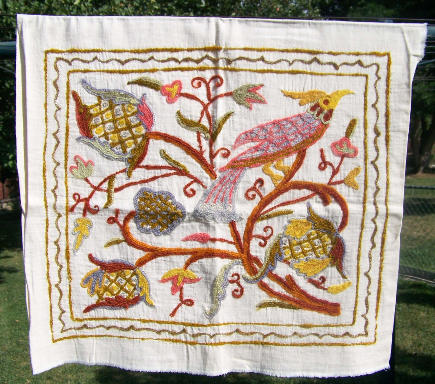 Vintage Crewel Work Embroidery Fabric Pillow Cover