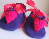 Purple and Pink Strawberry Felt Baby Shoes/Booties