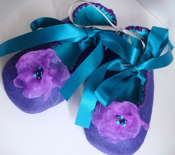 Purple and Turquoise Felt and Organza Flower Baby Shoes/Booties