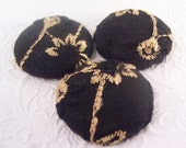 Black/gold - 3  fabric covered buttons - 1.5 inches - size 60 - one set available