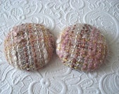 2 fabric covered buttons - pink tweed wool - 1 7/8 inches - size 75 - only one set available
