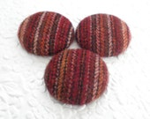 Cranberry buttons, stripe buttons, fabric buttons, wool buttons, textured buttons, 1.5 inch button, price per button