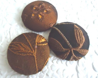 3 fabric covered buttons - brown/gold mix - 1.5 inches