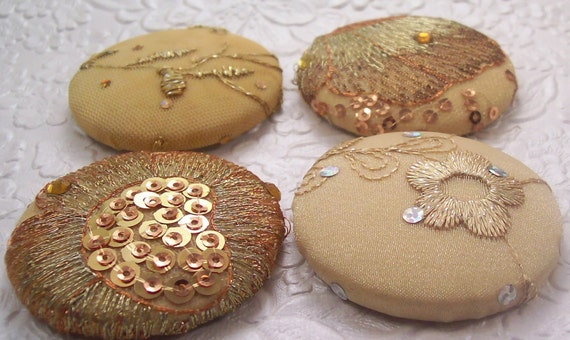 4 fabric covered buttons - gold bling -1 7/8 inches - only one set available