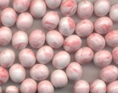 RESERVED FOR PaganCellar 12 Vintage Pink Oval Beads 11mm x 10mm