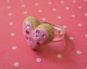 Polymer Clay Pink Rhinestone Sugar Cookie Ring