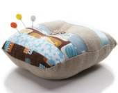 Handmade Pincushion Patchwork Blue and Brown