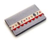 Business Card Wallet Wool I Like Robots