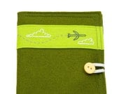 Travel Passport Cover Green Felt Hand Embroidered Jet Airplane