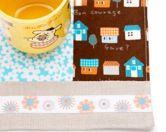 Patchwork Linen Drink Coaster, Kids Snack Mat, Novelty Mug Rug, Drink Mat, Coffee Cozy, Housewarming Gift